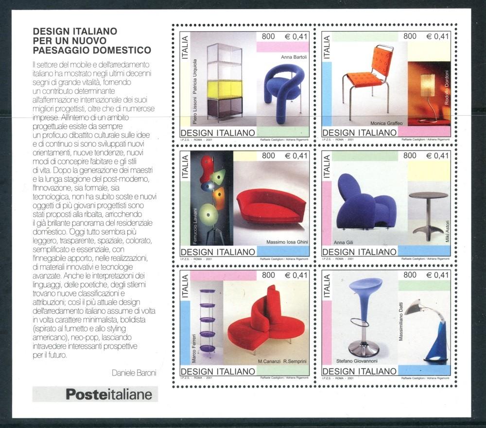 2001 repubblica design italiano foglietto nuovo for Design italiano