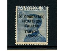 1922 - LOTTO/11540 - REGNO - 25c. CONGRESSO FILATELICO TRIESTE - LING.