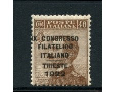 1922 - LOTTO/11541 - REGNO - 40c. CONGRESSO FILATELICO TRIESTE - LING.