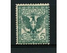 1901 - LOTTO/11558 - REGNO - 5c. VERDE AZZURRO FLOREALE - NUOVO