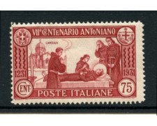 1931 - LOTTO/11566 - REGNO - 75c . SANT'ANTONIO - LING.