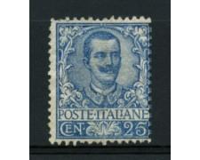 1901 - LOTTO/11617 - REGNO - 25c. AZZURRO FLOREALE - LING.