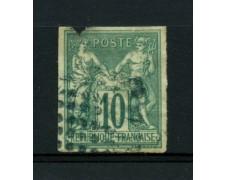 1876/81 - LOTTO/11799 - FRANCIA - 10c. VERDE SAGE NON DENTELLATO - USATO