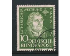 1952 - LOTTO/11837 - GERMANIA FEDERALE - 10p. CONGRESSO LUTERANO - USATO