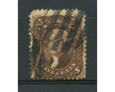1861 - LOTTO/11885 - STATI UNITI - 5c. JEFFERSON BRUNO GIALLO - USATO