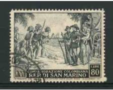 1952 - LOTTO/11994 - SAN MARINO - 80 Lire C. COLOMBO - USATO