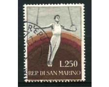 1954 - LOTTO/11995 - SAN MARINO - 250 LIRE GINNASTA - USATO