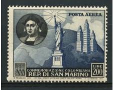 1952 - LOTTO/12015 - SAN MARINO - POSTA AEREA 200 LIRE COLOMBO - LING.