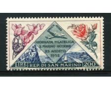 1952 - LOTTO/12016 - SAN MARINO - POSTA AEREA 200 LIRE GIORNATA FILATELICA - LING.