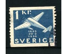 1936 - LOTTO/12165 - SVEZIA - 1k. CENTENARIO POSTE  - USATO