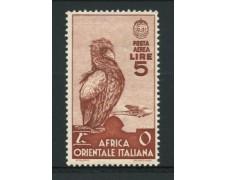 1938 - LOTTO/12255 - AFRICA ORIENTALE - 5 Lire  POSTA AEREA - LING.