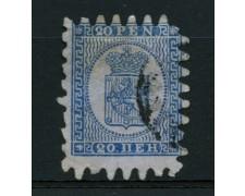 1866 - LOTTO/12259 - FINLANDIA - 20p. STEMMA AZZURRO SU CELESTE - USATO