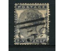 1881 - LOTTO/12301 - GRAN BRETAGNA - 5p. AZZURRO E NERO  - USATO
