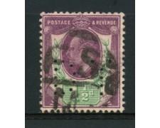 1902 - LOTTO/12317 - GRAN BRETAGNA - 1,5p.  RE EDOARDO VII° - PERFIN USATO