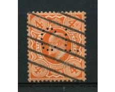 1909 - LOTTO/12324 - GRAN BRETAGNA - 4p. RE EDOARDO VII° - PERFIN USATO