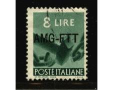 1949 - LOTTO/12388 - TRIESTE A - 8 LIRE DEMOCRATICA - USATO