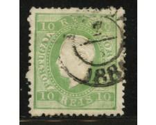 1870 - LOTTO/12430 - PORTOGALLO - 10 r. VERDE GIALLO - USATO