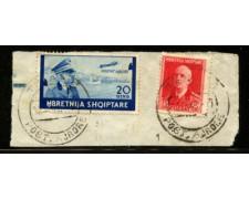 1940 - LOTTO/12435 - ALBANIA ITALIANA - 20q. POSTA AEREA - USATO SU FRAMMENTO