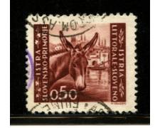 1945 - LOTTO/12450 - ISTRIA - 50c. BRUNO ROSSO - USATO