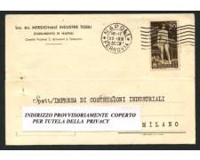 NAPOLI - 1936 - LOTTO/12464 - REGNO - 30c. BIMILLENARIO ORAZIO SU CARTOLINA VIAGGIATA