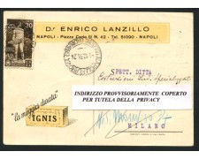 NAPOLI - 1936 - LOTTO/12465 - REGNO - 30c. BIMILLENARIO ORAZIO SU CARTOLINA COMMERCIALE VIAGGIATA