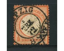 1872 - LOTTO/12556 - GERMANIA IMPERO - 1/2 g. ROSSO ARANCIO - USATO
