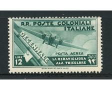 1933 - LOTTO/12614 - COLONIE EMISSIONI GEN. -  P/A  12 LIRE MARCIA SU ROMA - LING.