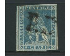 TOSCANA - 1851 - LOTTO/12720 - 2 cr. AZZURRO SU GRIGIO - USATO