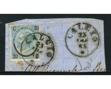 1865 - LOTTO/12740 - REGNO - 20c. su 15c.  SU FRAMMENTO ANNULLO CALCIO