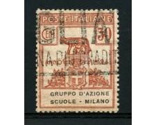 1924 - LOTTO/12828 - REGNO - 30c. GRUPPO D'AZIONE SCUOLE DI MILANO - USATO