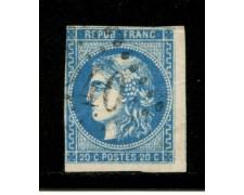 1870/71 - LOTTO/12877 - FRANCIA - 20c. AZZURRO III° TIPO - USATO