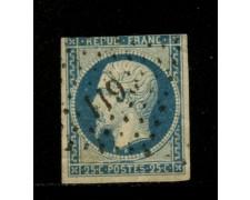 1852 - LOTTO/12897 - FRANCIA - 25c. AZZURRO LUIGI NAPOLEONE - USATO
