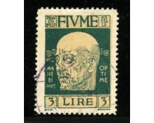 1920 - LOTTO/12904 - FIUME - 3 LIRE VERDE D'ANNUNZIO - USATO