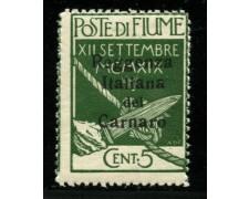 1920 - LOTTO/12907 - FIUME - 5c. REGGENZA ITALIANA CARNARO - NUOVO