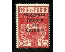 1920 - LOTTO/12908 - FIUME - 10c. REGGENZA ITALIANA CARNARO - NUOVO