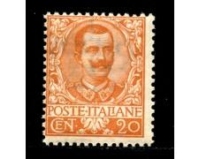 1901 - LOTTO/12988 - REGNO - 20c. ARANCIO FLOREALE  - NUOVO