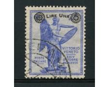 1924 - LOTTO/13023 - REGNO - 1 LIRA SU 25c. ANNIVERSARIO VITTORIA - USATO