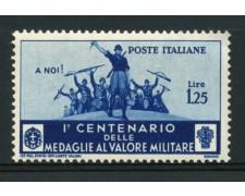 1934 - LOTTO/13061 - REGNO - 1,25  LIRE MEDAGLIE AL VALOR MILITARE - NUOVO