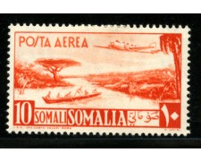 1950/51 - LOTTO/23094 - SOMALIA AFIS - 10 s. ARANCIO POSTA AEREA - LING.
