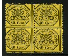 STATO PONTIFICIO - 1868 - LOTTO/13141 - 40 c. GIALLO LIMONE  QUARTINA - NUOVI
