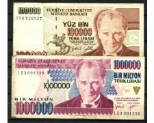 TURCHIA - 1970 - LOTTO/13173 - 100.000 /1.000.000 LIRA  - CIRCOLATI