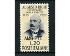 1950 - LOTTO/13231 - TRIESTE A - AUGUSTO RIGHI - NUOVO