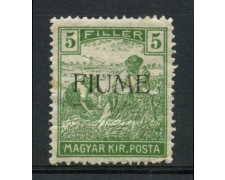 1918 - LOTTO/13297 - FIUME - 5f. VERDE - LING.