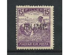 1918 - LOTTO/13298 - FIUME  - 15f. VIOLETTO - LING.