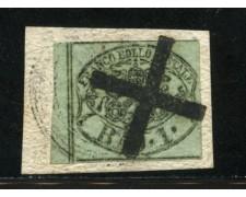 STATO PONTIFICIO - 1852 - LOTTO/13500 - 1 BAJ VERDE GRIGIASTRO - USATO
