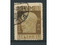 1920 - LOTTO/13532 - FIUME - 5 LIRE BRUNO D'ANNUNZIO - USATO