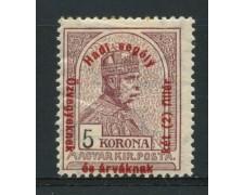 1915 - LOTTO/13811 - UNGHERIA - 5 K. BRUNO LILLA - LING.