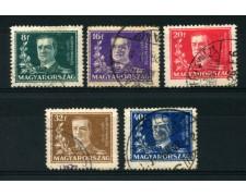 1930 - LOTTO/13815 - UNGHERIA - MIKLOS HORTHY 5v. - USATI