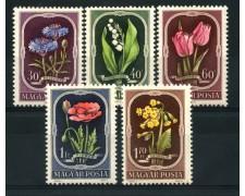 1951 - LOTTO/13850 - UNGHERIA - FIORI 5v. - ling.