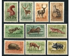 1953 - LOTTO/13885 - UNGHERIA - POSTA AEREA - ANIMALI  10v. - NUOVI